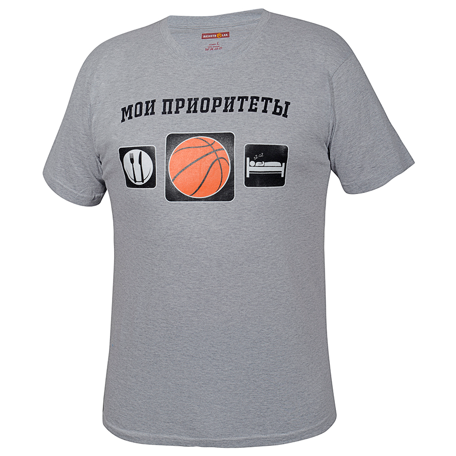 Другие товары BasketbolkaФутболка Basketbolka - Мои приоритеты<br><br>Цвет: Серый<br>Выберите размер US: M|L
