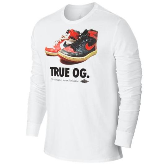 Другие товары JordanЛонгслив Air Jordan True OG LSСпортивная толстовка Jordan Brand, 78% хлопок, 22% полиэстер<br><br>Цвет: Белый<br>Выберите размер US: M