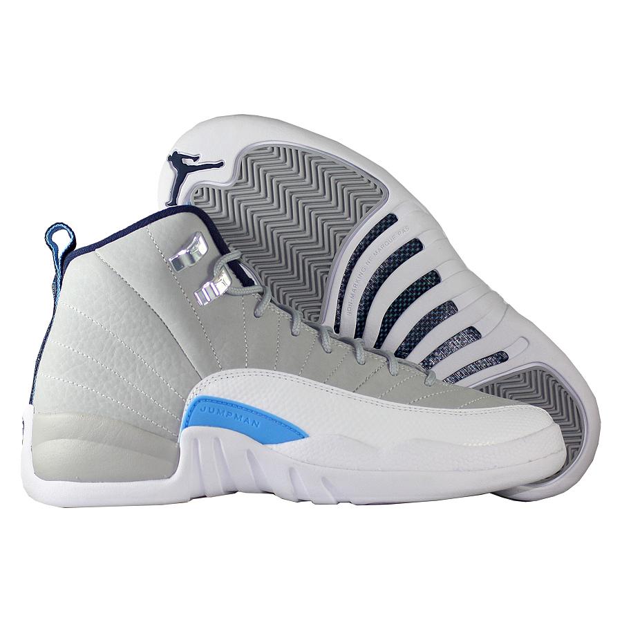 Кроссовки JordanКроссовки детские баскетбольные Air Jordan 12 (XII) Retro quot;UNCquot; GS<br><br>Цвет: Серый<br>Выберите размер US: 7