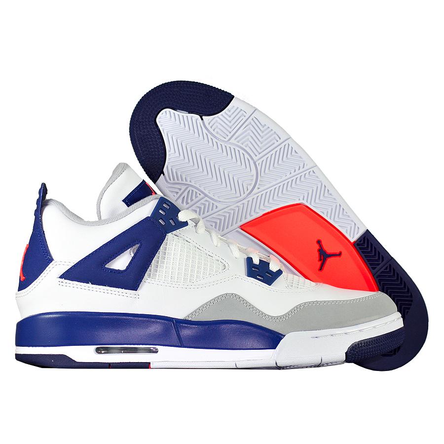 Кроссовки JordanКроссовки детские баскетбольные Air Jordan IV (4) Retro GG quot;Knicksquot;<br><br>Цвет: Белый<br>Выберите размер US: 9,5