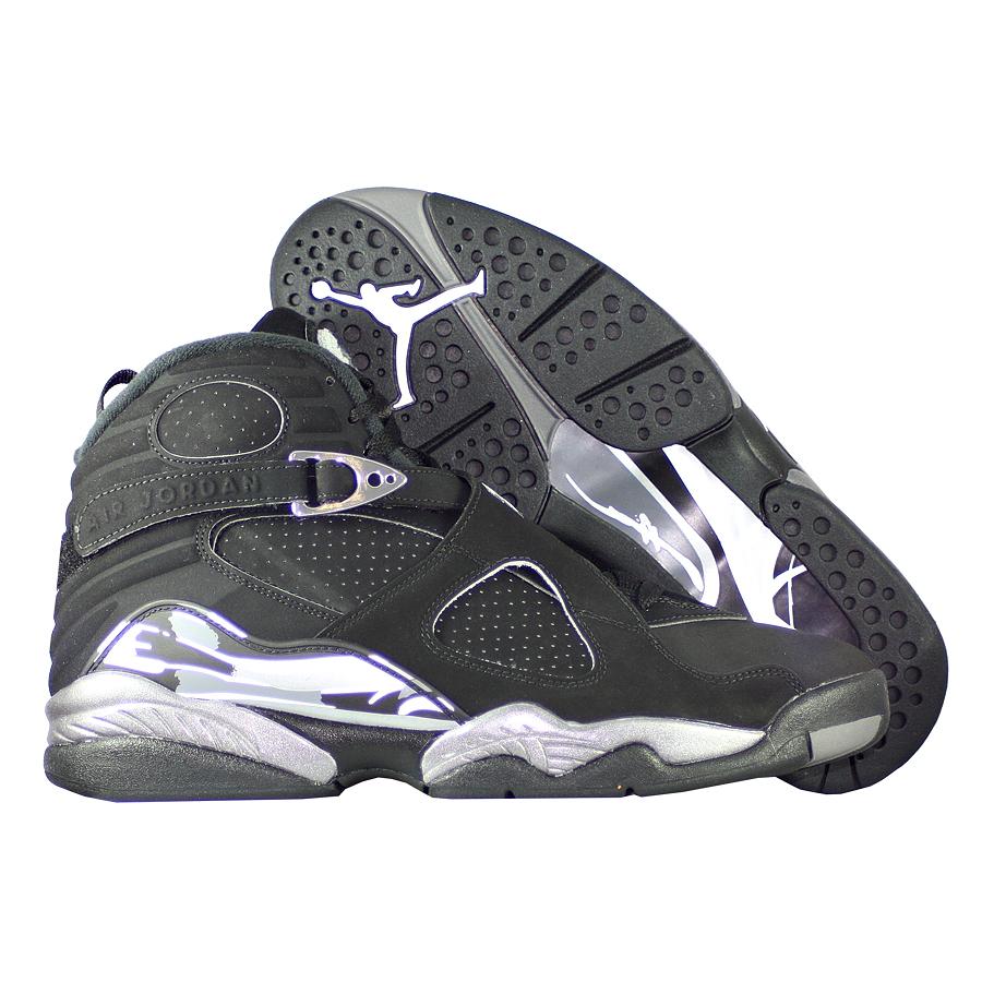 Кроссовки JordanКроссовки баскетбольные Air Jordan  8 (VIII) Retro quot;Chromequot;<br><br>Цвет: Чёрный<br>Выберите размер US: 9,5