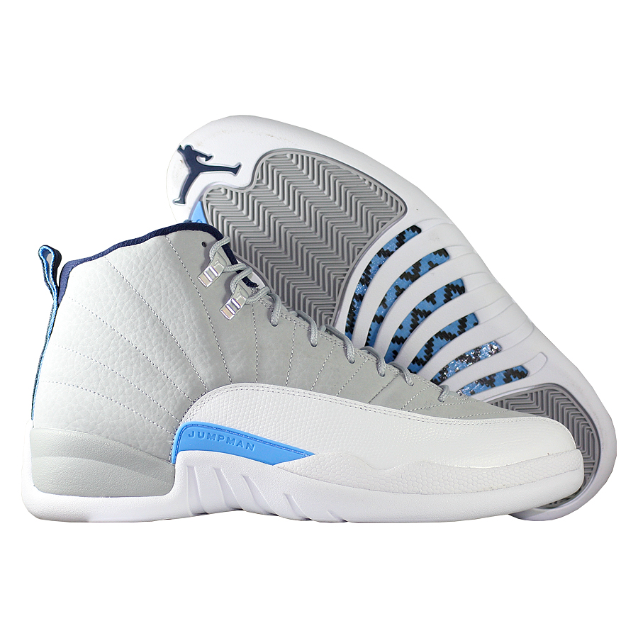 Кроссовки JordanКроссовки баскетбольные Air Jordan 12 (XII) Retro quot;UNCquot;<br><br>Цвет: Серый<br>Выберите размер US: 8