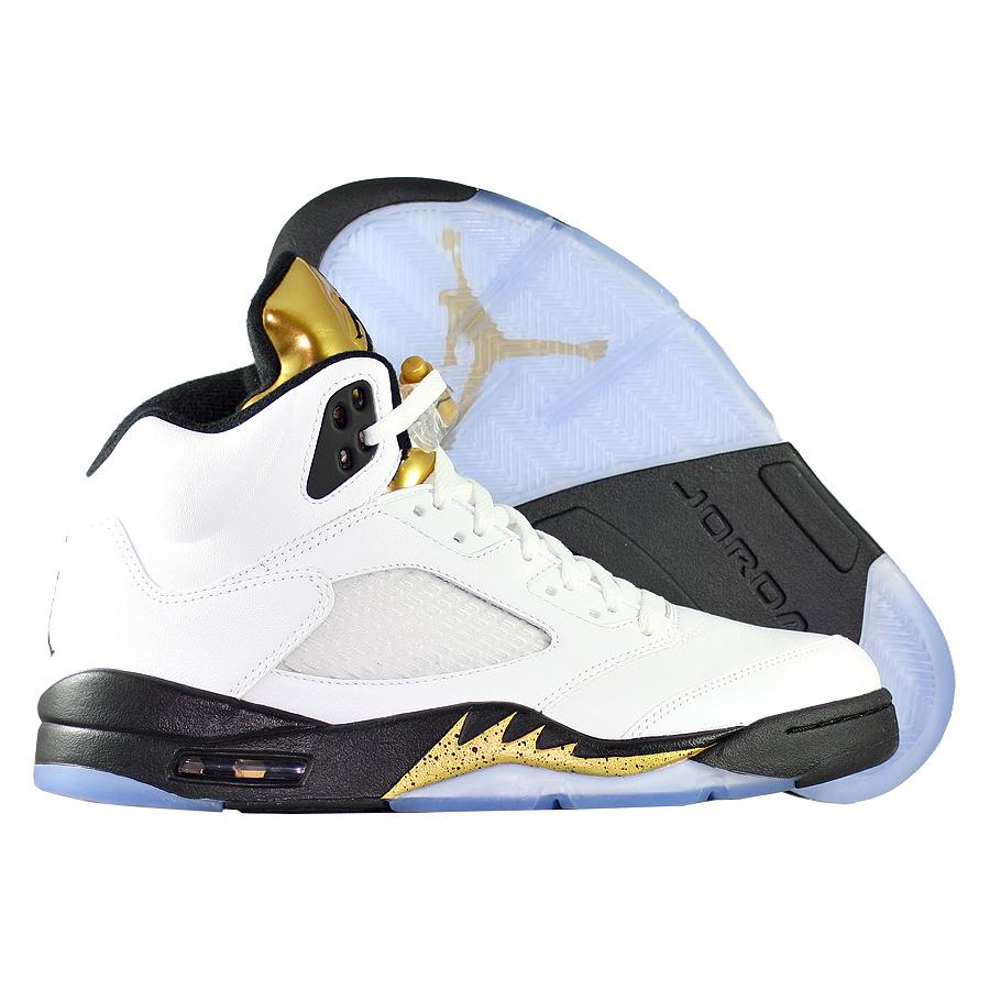 Кроссовки JordanКроссовки баскетбольные Air Jordan 5 (V) Retro quot;Olympicquot;<br><br>Цвет: Белый<br>Выберите размер US: 10