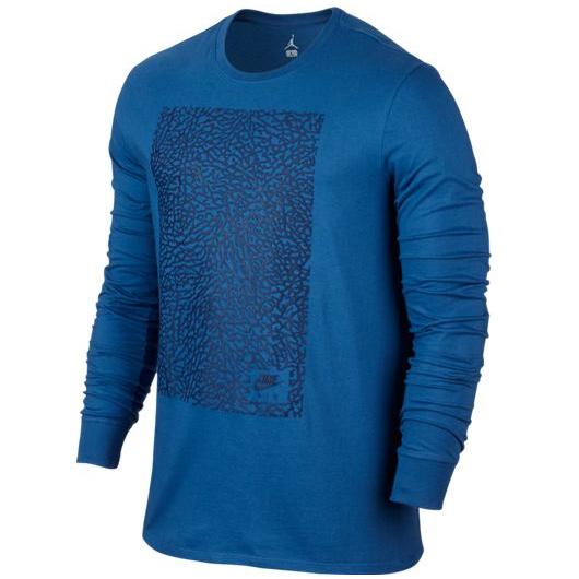 Другие товары JordanЛонгслив Air Jordan 3 Long-Sleeve T-ShirtСпортивная толстовка Jordan Brand, 78% хлопок, 22% полиэстер<br><br>Цвет: Синий<br>Выберите размер US: XL