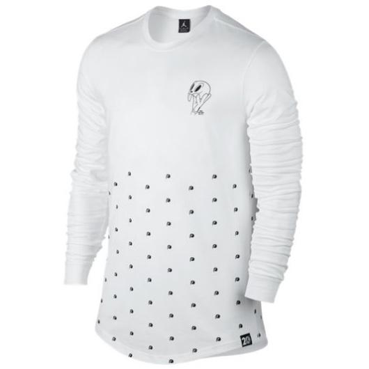 Другие товары JordanЛонгслив Air Jordan 11 Long Sleeve Top quot;Space Jamquot;Спортивная толстовка Jordan Brand, 78% хлопок, 22% полиэстер<br><br>Цвет: Белый<br>Выберите размер US: XL|2XL