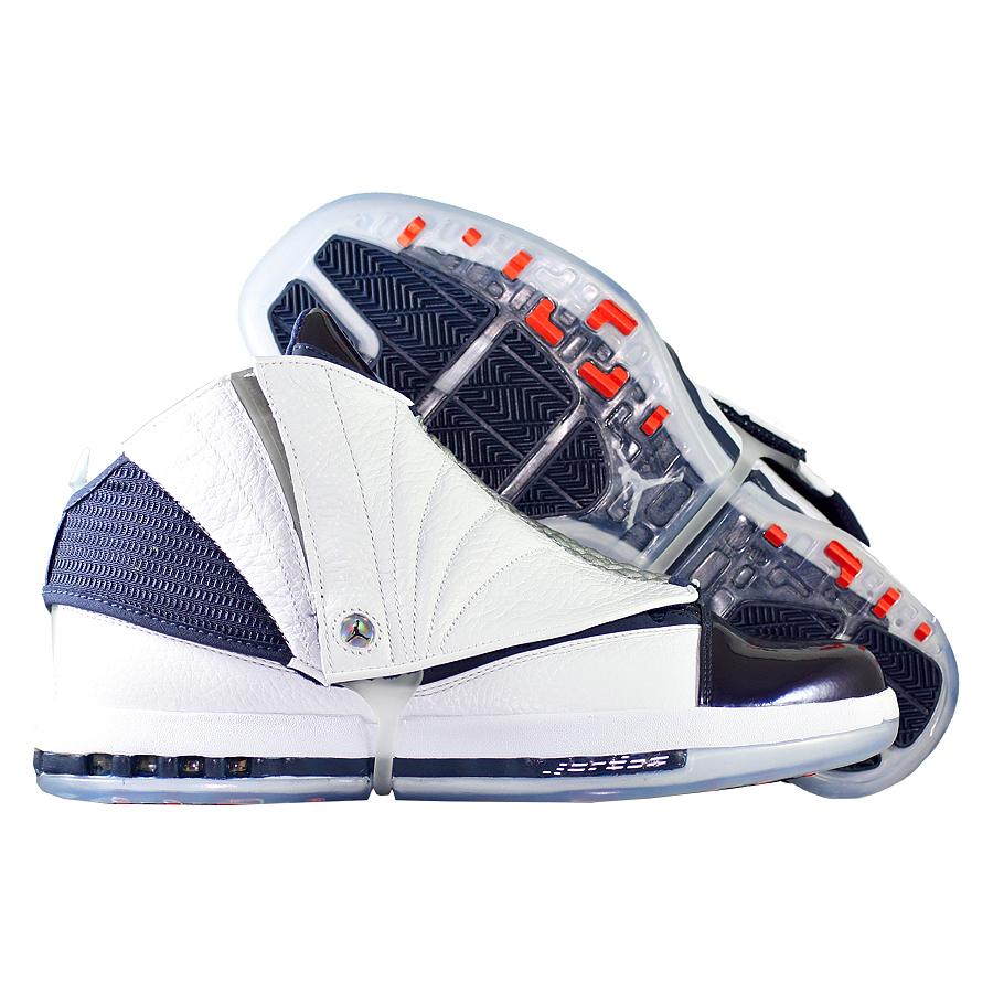 Кроссовки JordanКроссовки баскетбольные Air Jordan 16 (XVI) Retro quot;Midnight Navyquot;<br><br>Цвет: Белый<br>Выберите размер US: 8|9,5