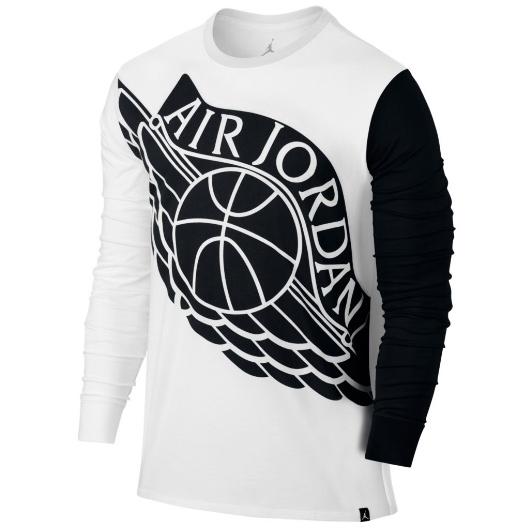 Другие товары JordanЛонгслив Air Jordan Stretched Wings Long-Sleeve T-ShirtСпортивная толстовка Jordan Brand, 78% хлопок, 22% полиэстер<br><br>Цвет: Белый<br>Выберите размер US: L|XL