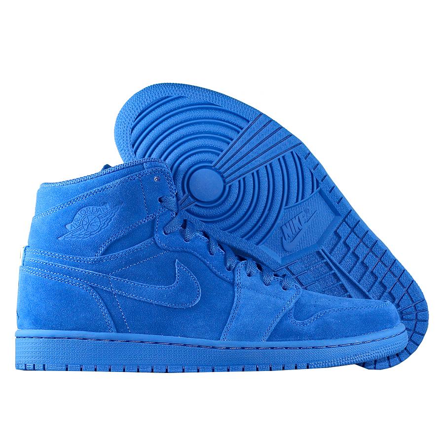 Кроссовки JordanКроссовки баскетбольные Air Jordan 1 Retro High quot;Blue Suedequot;<br><br>Цвет: Синий<br>Выберите размер US: 10