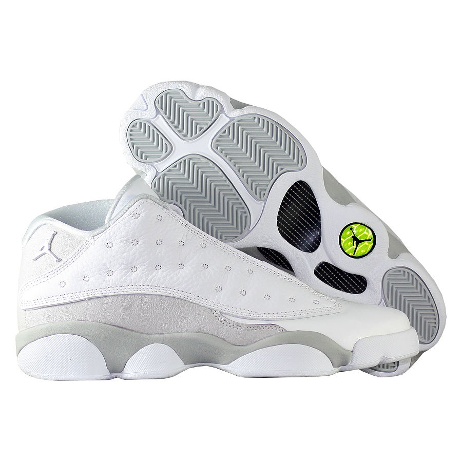 Кроссовки JordanКроссовки детские баскетбольные Air Jordan 13 (XIII) Retro Low quot;Pure Moneyquot; GS<br><br>Цвет: Белый<br>Выберите размер US: 5,5