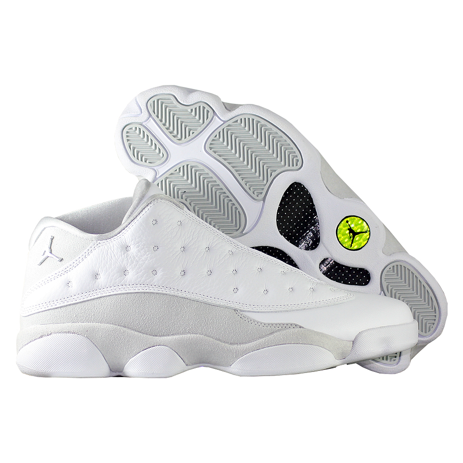 Кроссовки JordanКроссовки баскетбольные Air Jordan 13 (XIII) Retro Low quot;Pure Moneyquot;<br><br>Цвет: Белый<br>Выберите размер US: 9|9,5|10|10,5|11|11,5|12|13|14