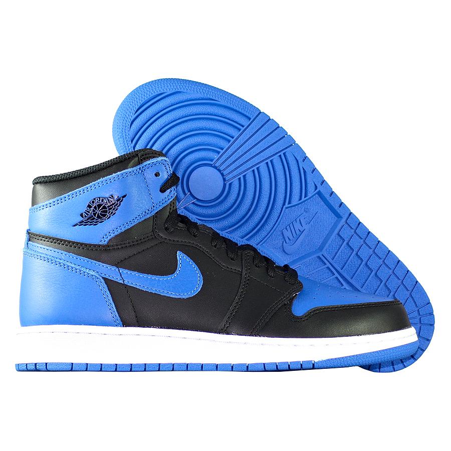 Кроссовки JordanКроссовки детские баскетбольные Air Jordan 1 Retro High OG quot;Royalquot; GS<br><br>Цвет: Чёрный<br>Выберите размер US: 3,5|5,5|7