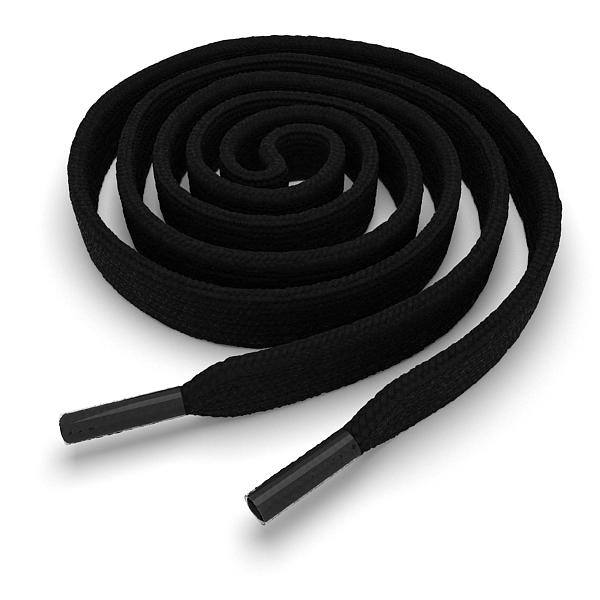 Шнурки плоские чёрные 140 см фото
